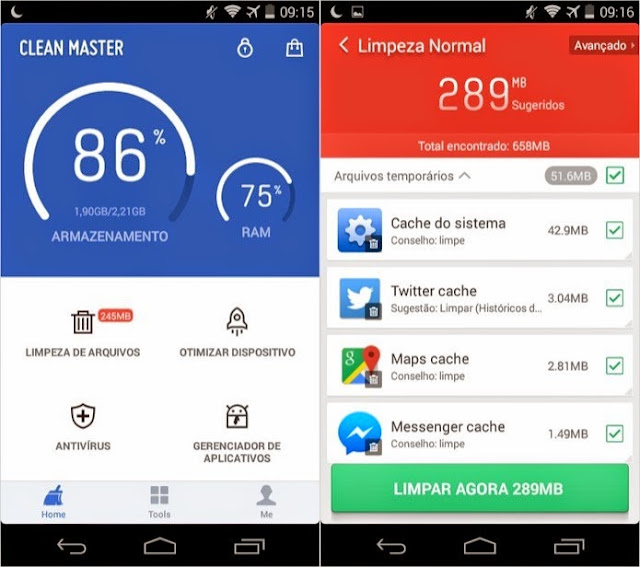 Limpando arquivos inúteis para liberar espaço ao Android com o aplicativo Clean Master