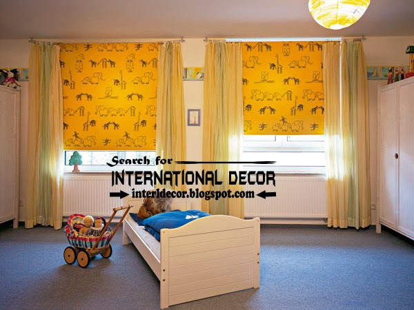 Yellow roller blinds and window treatments for kids room, modern roller blinds
