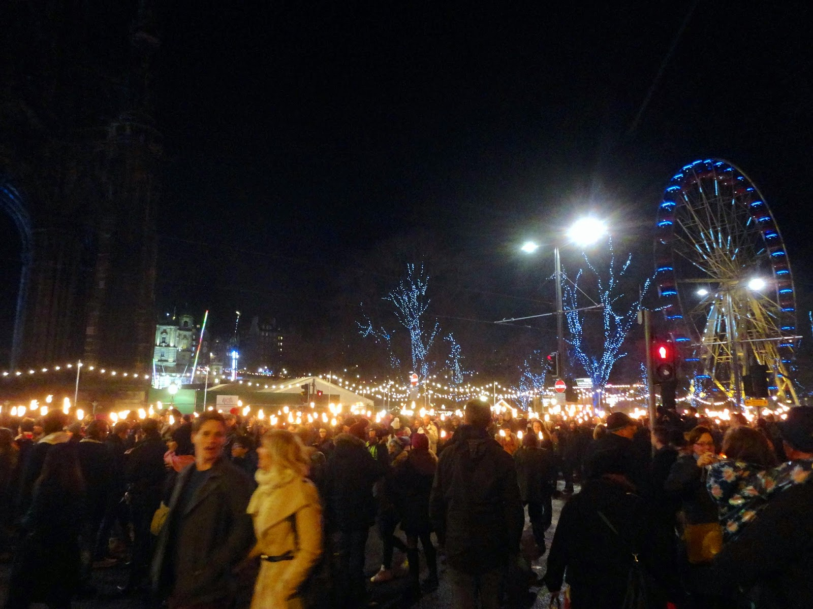 Edinburgh Hogmanay 2014 Torchlight Procession along Princes Street