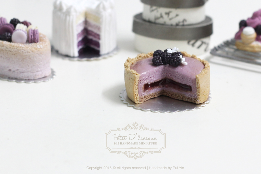 Blackberry Mousse Torte in Dollhouse Miniature Cake 1:12th