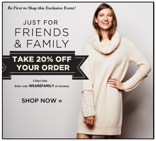 WEAREFAMILY, Friends and Family, Sale