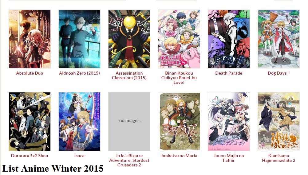 [ Info-Anime ] Daftar Anime Yang Akan Hadir Di Musim Winter 2015