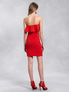 DKNY | Strapless Dress with Ruffles | Designer | Fashion | Clothing | Shoes | Handbags | Jewelry | New Year | Sale