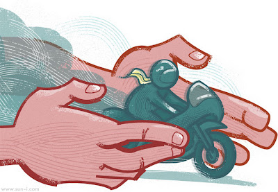 motorbike rider and guarding hands