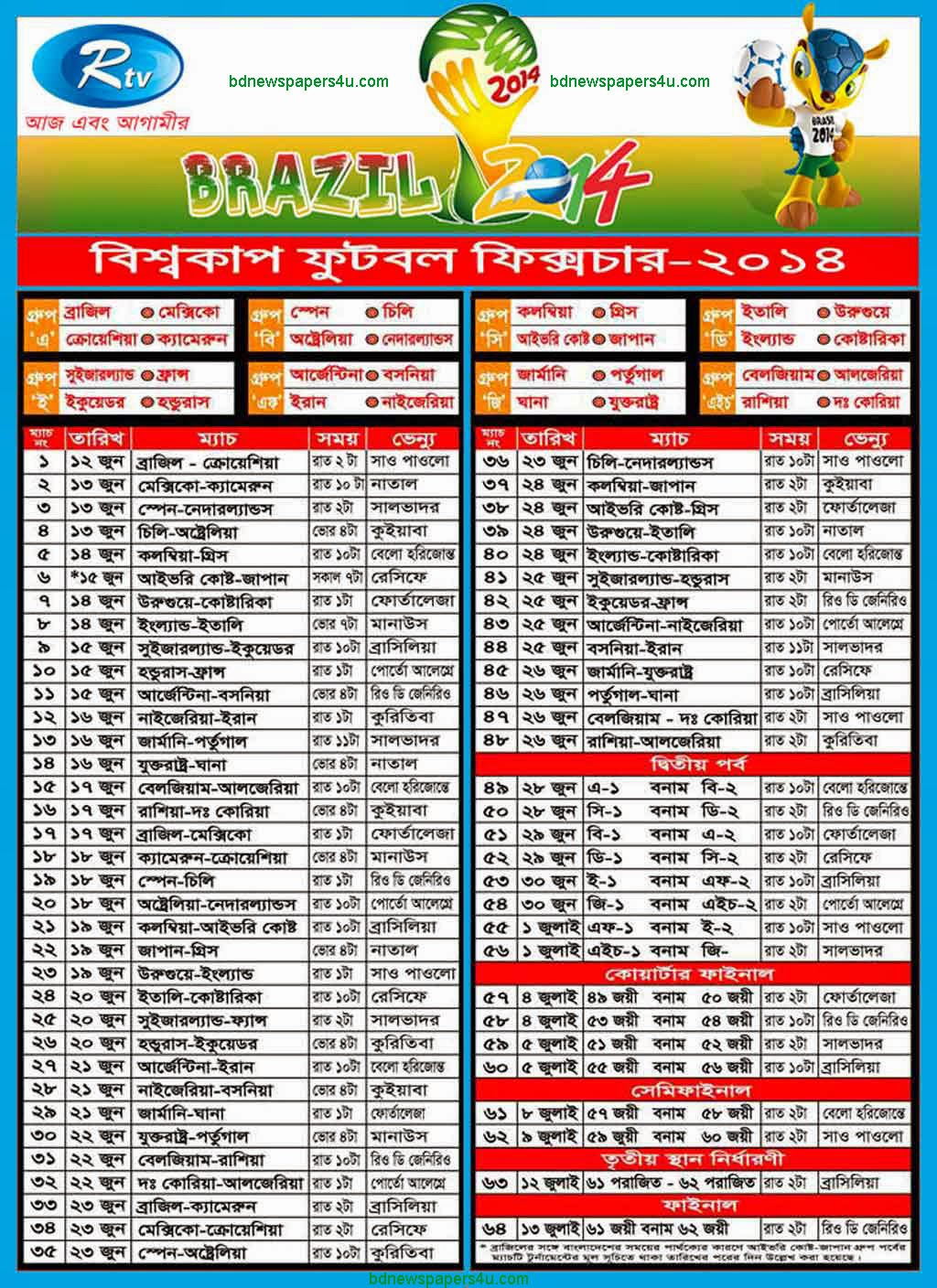 World cup 2014 Brazil Schedule/Fixtures & Bangladeshi Time Table ...