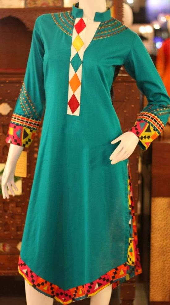 Zahra ahmed the pakistani designer design 2 piece long for Two color shirt design