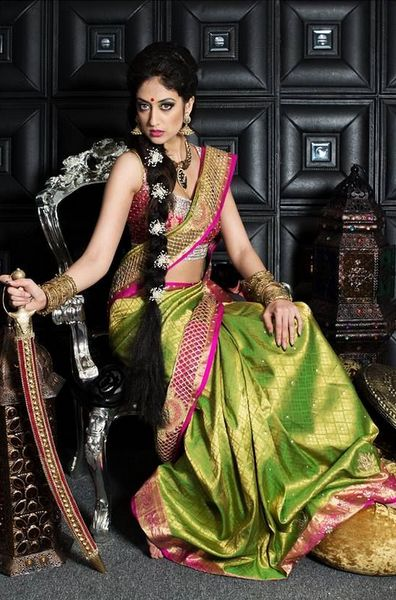 Parrot Green Wedding Saree