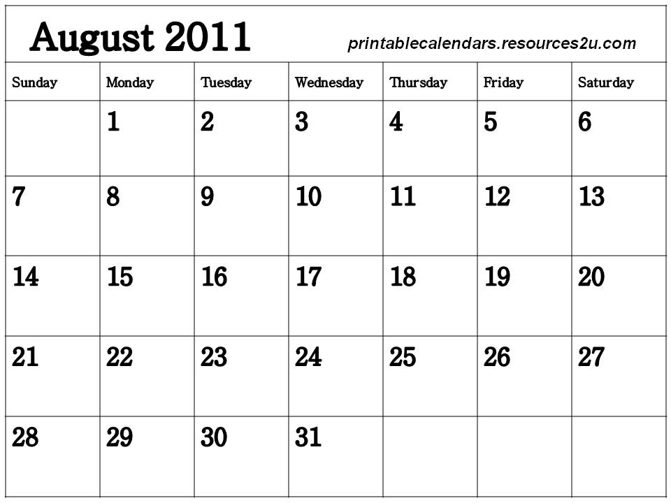 august calendar 2011. This 2011 August Calendar