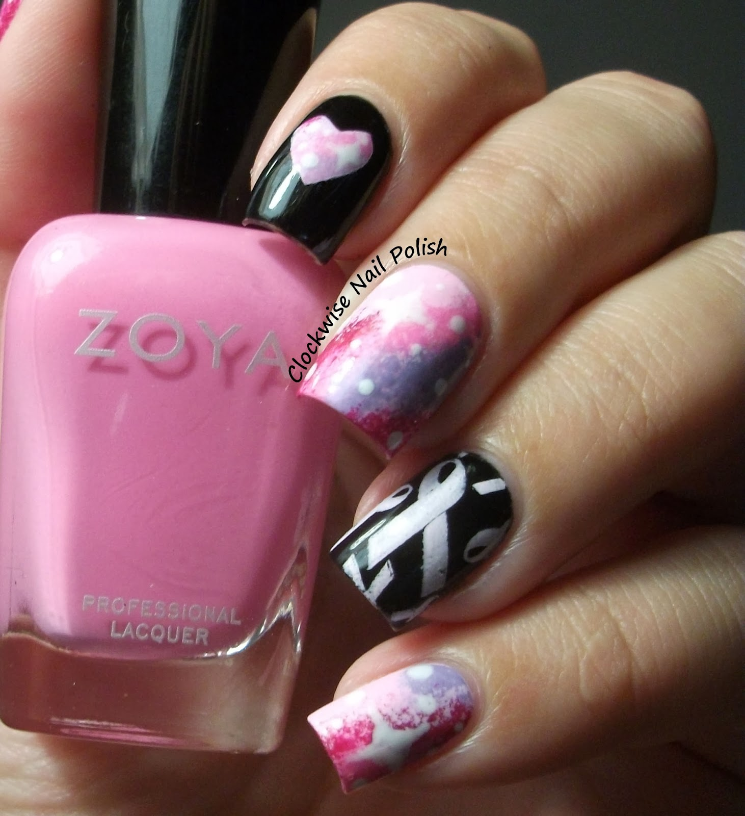 The Clockwise Nail Polish: Pink Nails For Breast Cancer