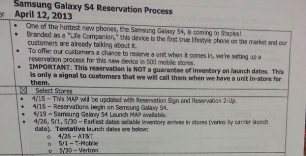 Galaxy S4 US Release Dates Revealed