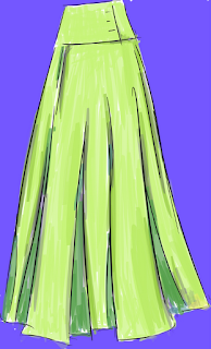 fashion drawing of full length skirt from front