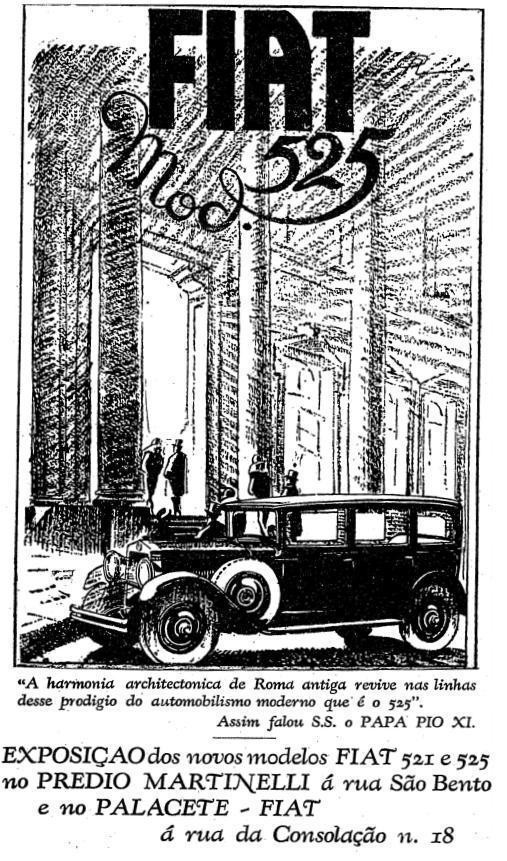 Propaganda do Fiat 525 com depoimento do Papa Pio XI em 1929.