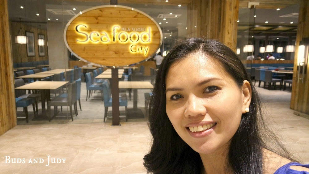 Seafood City Entrance with Judy at the front. Seafood Restaurant in Cebu City