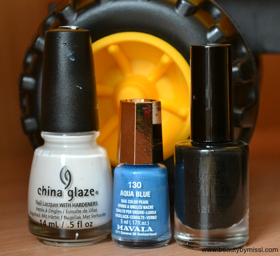 China Glaze White on White, Mavala Aqua Blue, Wild & Mild City of Darks
