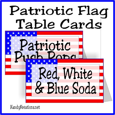 Don't ruin your 4th of July by eating yucky food at your patriotic picnic! Tell everyone what they get with these free printable patriotic flag table cards.