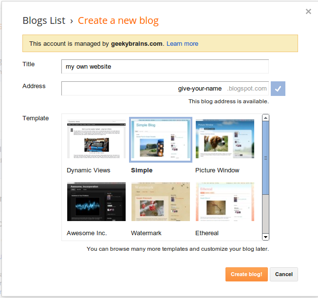 create a free blog at blogger.com