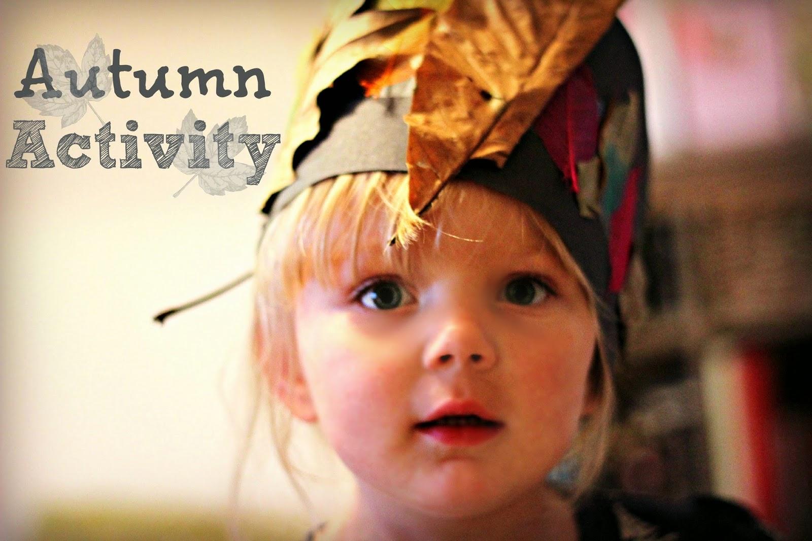 Toddler autumn activities leaf crown