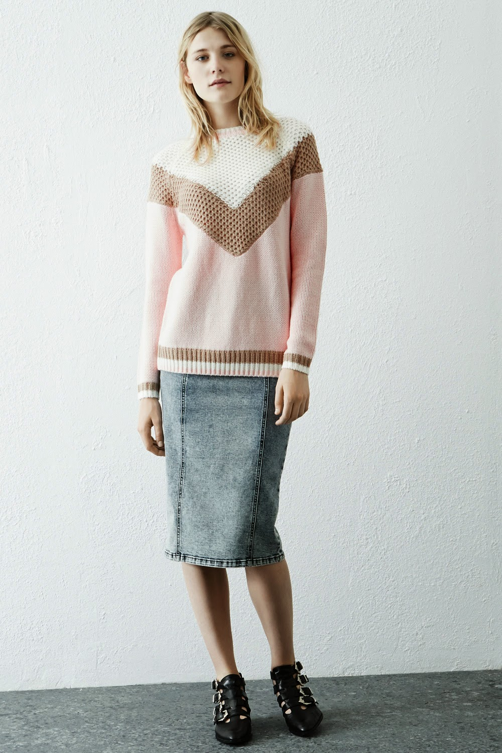 warehouse pale pink block jumper