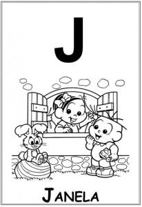 alfabeto turma da monica  baby letra j