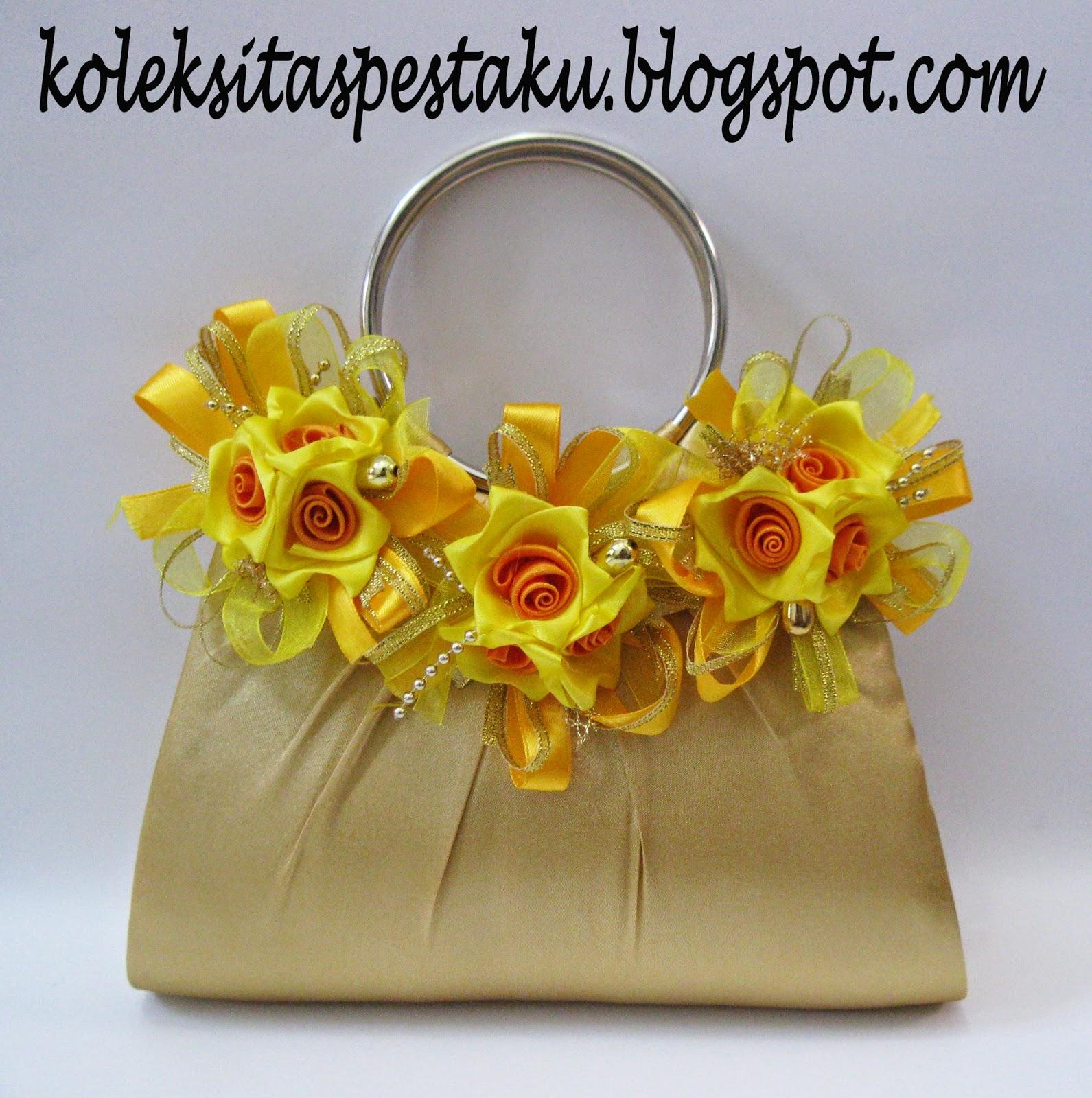 Tas Pesta  Gold Bunga Cantik