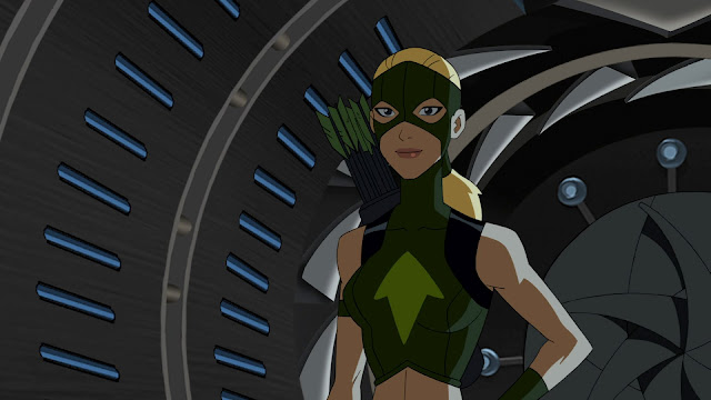 Artemis looks like she's on the set of the new game show Wheel of Torture, hosted by Miss Martian.