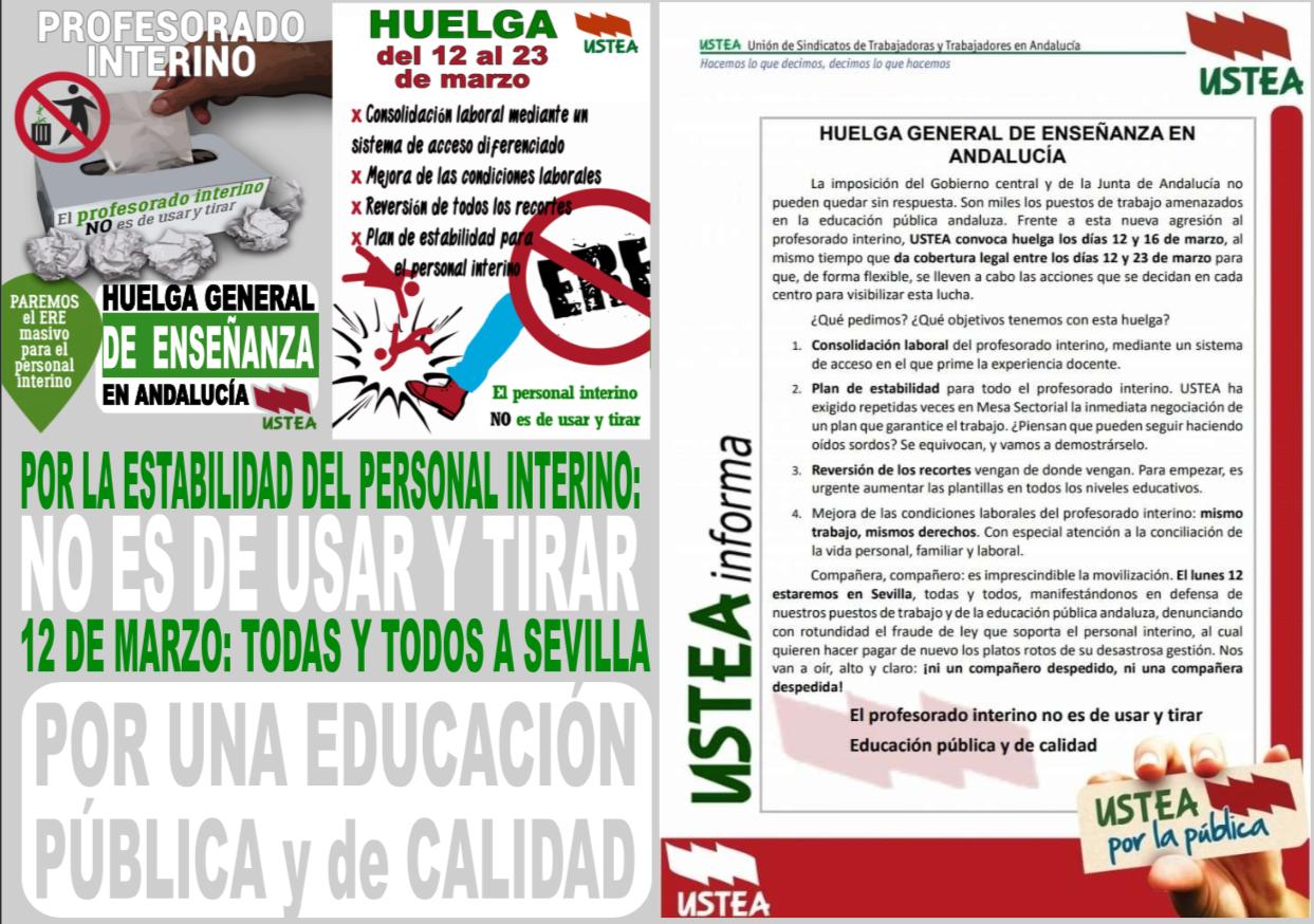 HUELGA DE INTERN@S EN LA ENSEÑANZA PÚBLICA NO UNIVERSITARIA DE ANDALUCÍA