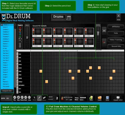 Dr.Drum , drum recording software, drum sequencer software