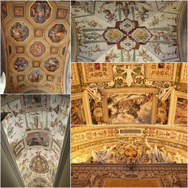 Every section with different arts work on the ceilings in Vatican Museum (Musei Vaticani) in Vatican City, Rome, Italy