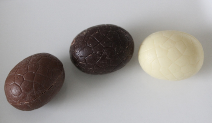 chocolate Easter eggs: milk, dark, and white