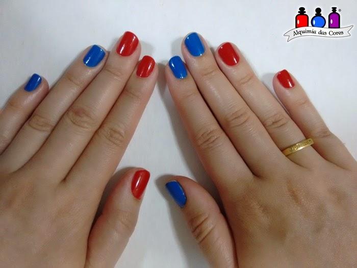 Azul, Caminie, Cremoso, homa mani, Impala, Jordana, nail art, nail polish, Smooth Blue, Tomate, Vermelho,