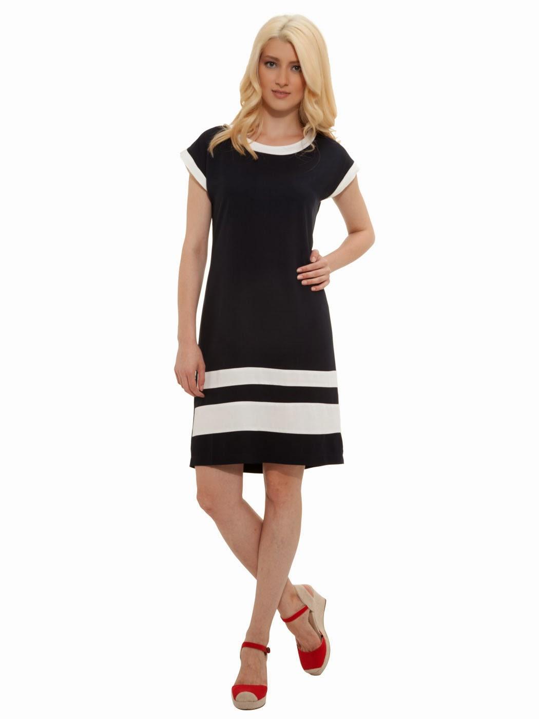 çizgili siyah elbise, 2014 günlük elbise, 2014 elbise