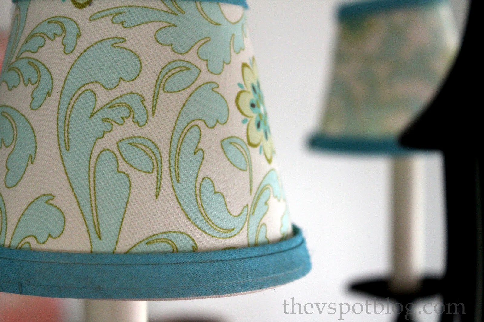 lampshades with fabric spray paint and a glue gun the v spot. Black Bedroom Furniture Sets. Home Design Ideas