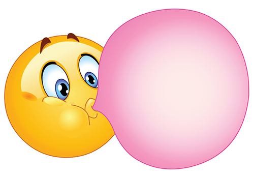 emoticon smiley face blowing bubblegum