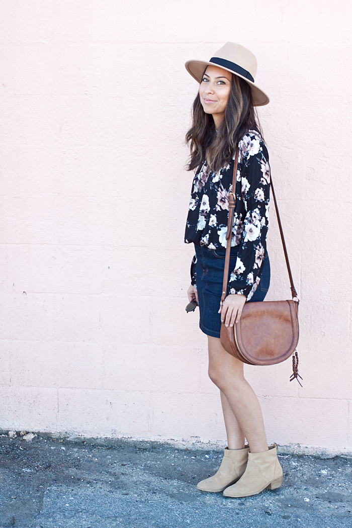 41b68ecd1eb floral top    jean skirt (runs large)    tan hat (size medium)    purse  (similar)    booties (sample sale find