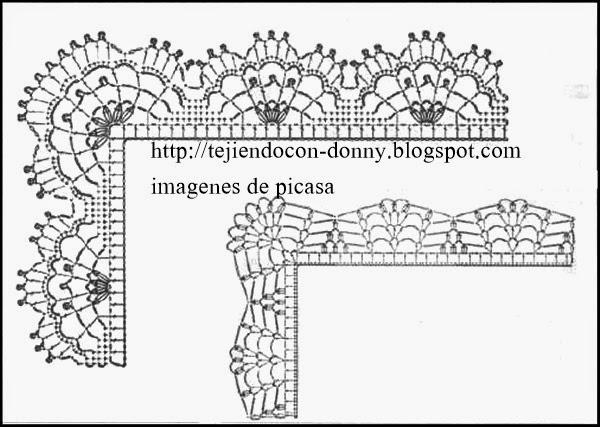 CROCHET = GRAFICOS =TRICOT = DOS AGUJAS: PUNTILLAS HERMOSAS PARA TEJER