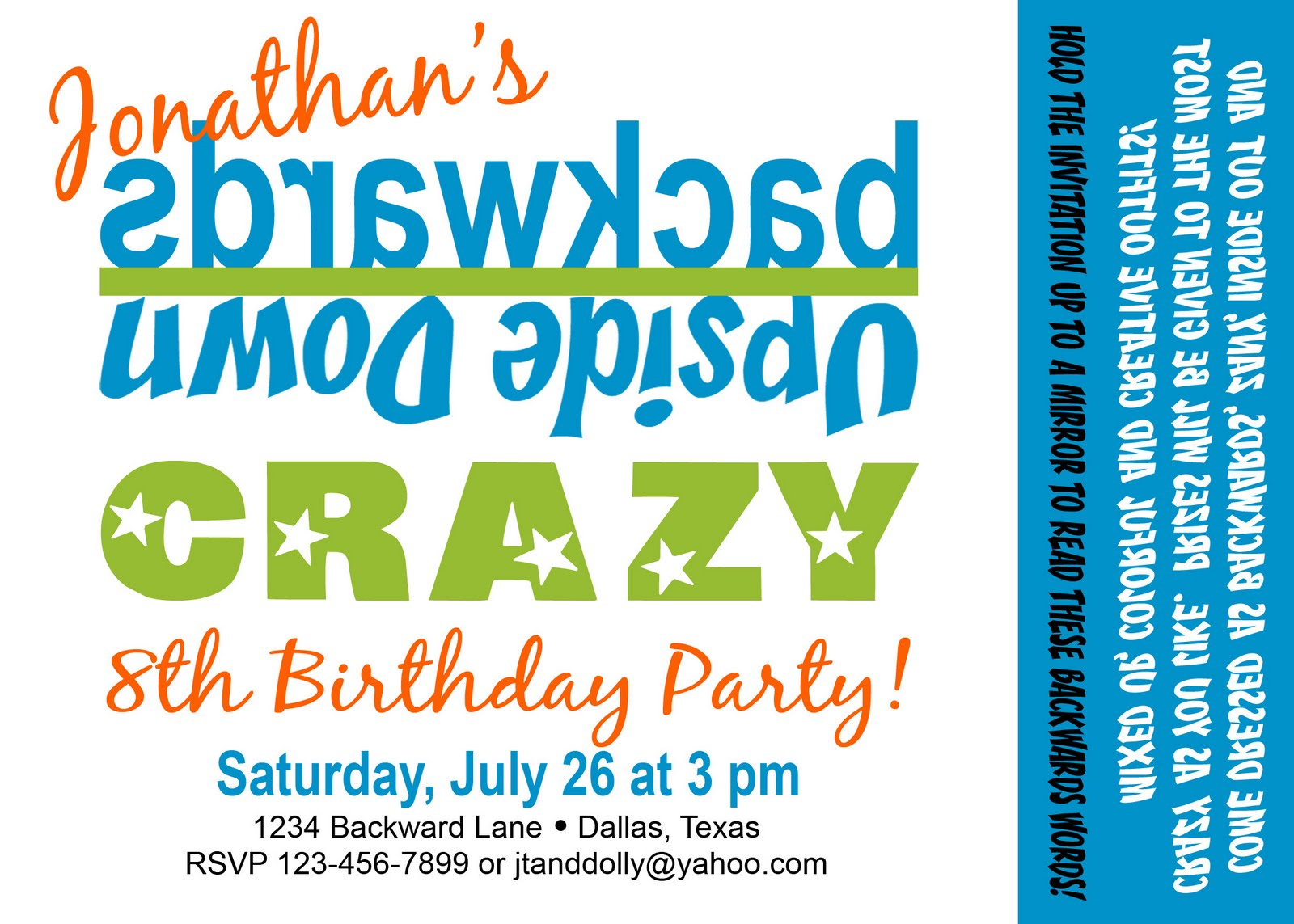 Paper Perfection: Backwards Party Invitation and Printables