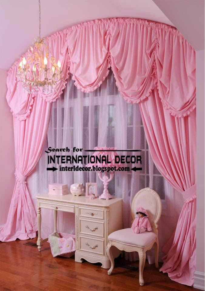 Unique pink curtain for girls bedroom arched curtain rod for Bedroom curtains designs