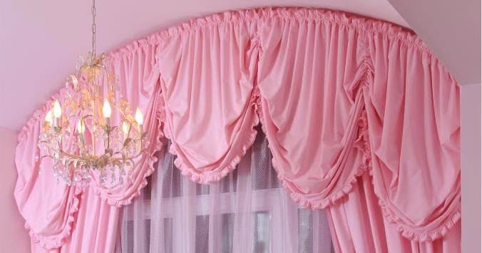 Unique pink curtain for girls bedroom arched curtain rod for Curtain designs for girls bedroom