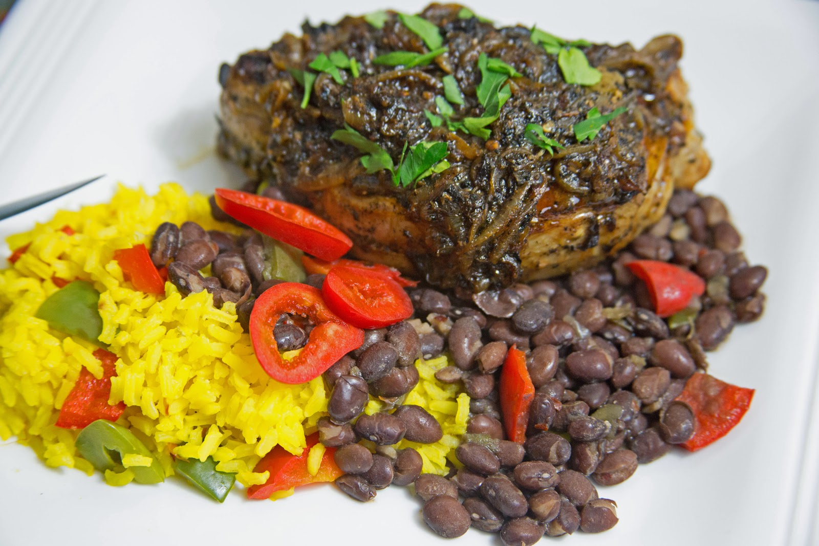 Cuban style pork chops, black beans and rice.