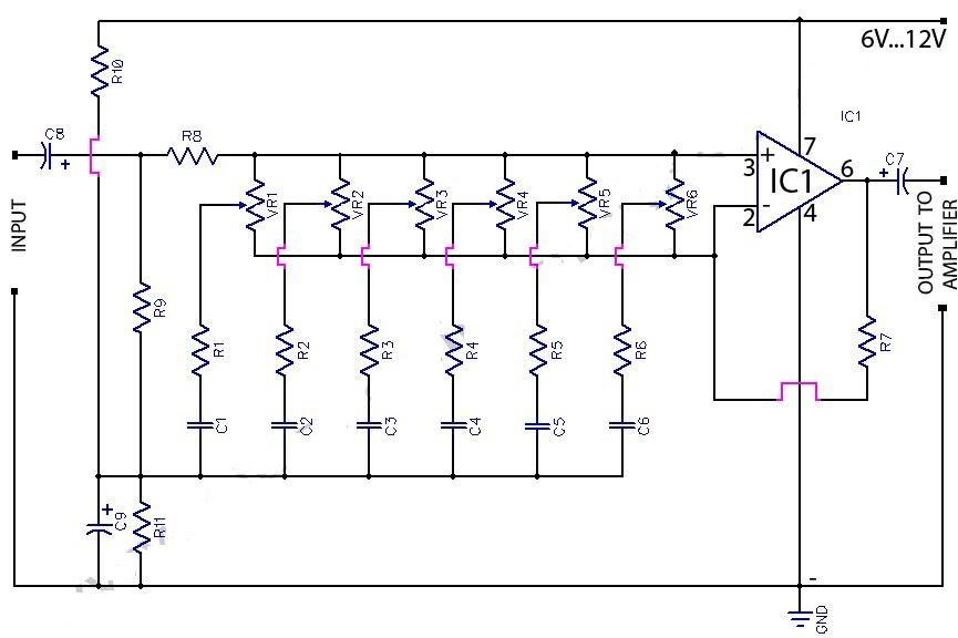 6 band graphic equaliser circuit using 741 op amp koleksi for Home 741 741