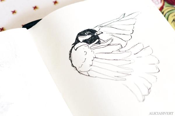aliciasivert, alicia sivert, alicia sivertsson, teckna, måla, skapa, alster, konst, öva, utmaning, teckningsutmaning, makeri, bläck, ink, rita, sketch, drawing, draw, portrait, porträtt, bird, chickadee, fågel, talgoxe, illustration, illustrera