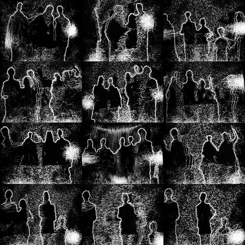 Conjunto de 12 fotos fazendo uma composição em formato quadrado. As imagens evidenciam contornos de pessoas em diversas posições e fontes luminosas en fundo preto
