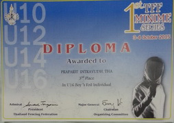 3rd Place Foil U-16 1st TFF Minime