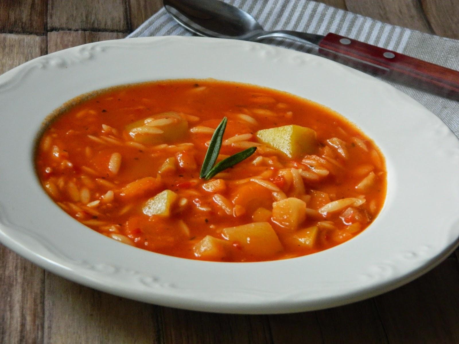 Supa de rosii cu legume si risoni