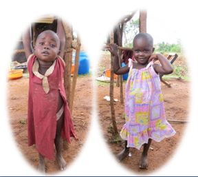 Before and after picture:  little girl with a new dress from Dress A Girl.