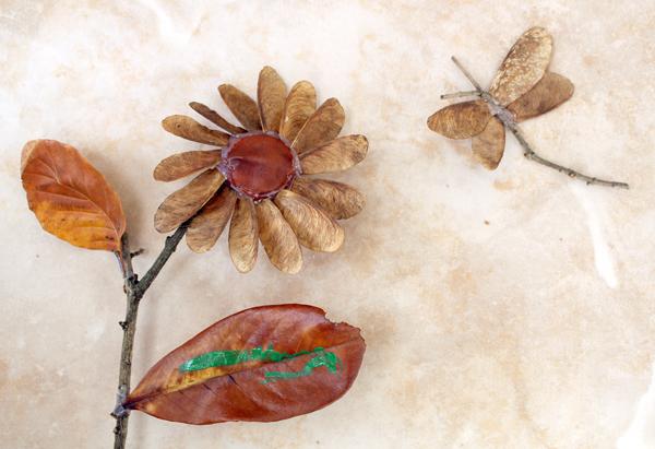 Аппликация стрекоза из природного материала своими руками 48