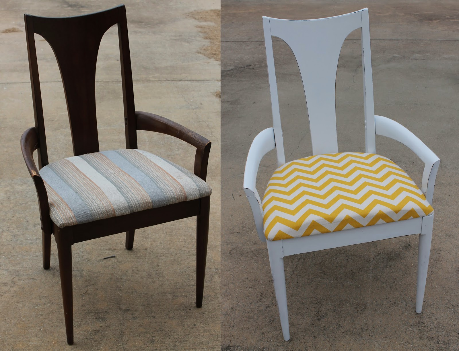 Doodlecraft Yellow and White Chevron Chair