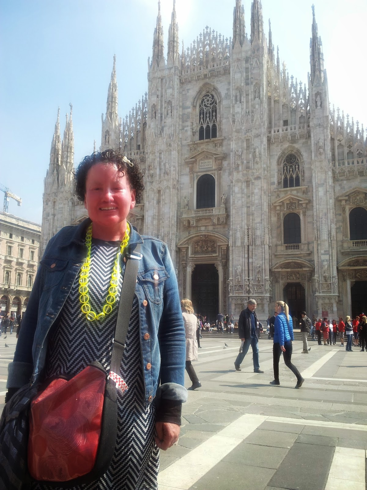 Carly Findlay outside of the Duomo, Milan