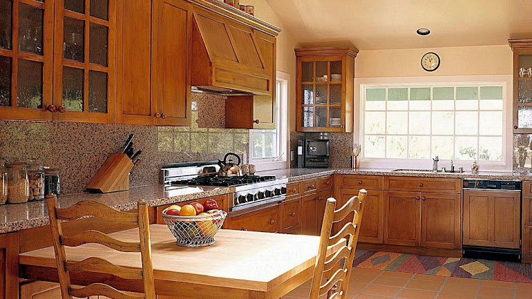 Interior Beautiful kitchen in wooden style