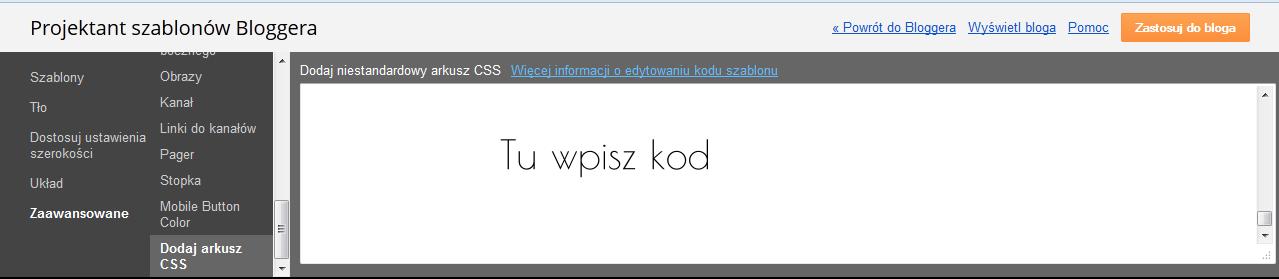 jak dodać kod CSS